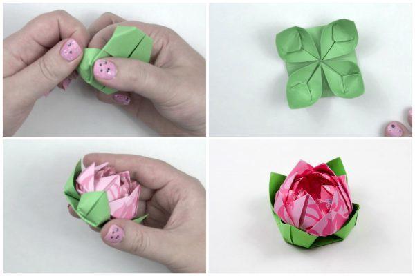Gấp hoa sen bằng giấy origama