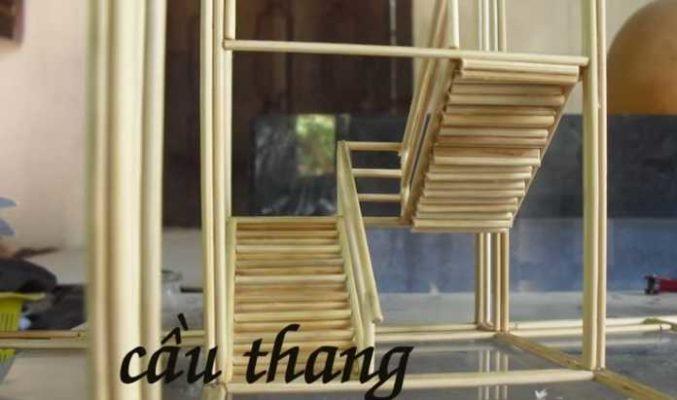 Mô hình nhà tăm tre cực đẹp