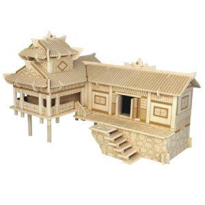 Mô hình nhà sàn làm bằng gỗ lắp ráp