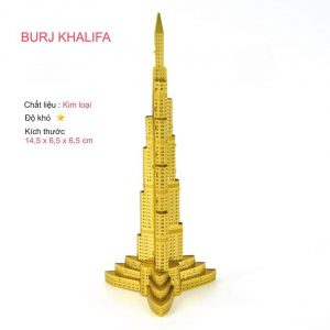 Mô hình tòa tháp Burj Khalifa Dubai làm bằng kim loại màu vàng