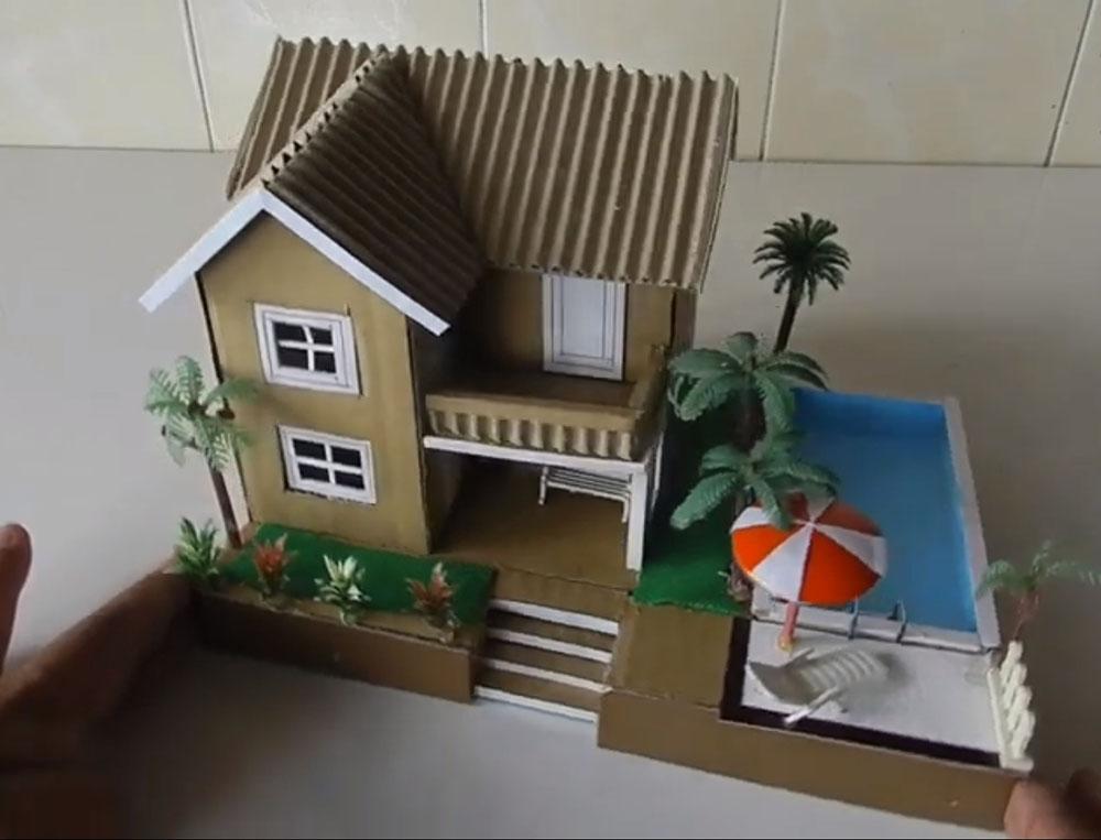 Làm nhà biệt thự bằng bìa caton